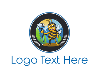 Honeybee - Sweeper Bee logo design
