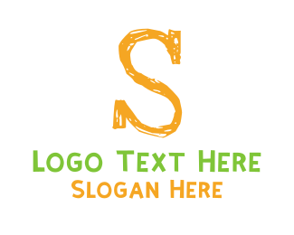 Crayon - Preschool Orange Letter S logo design