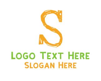Preschool - Preschool Orange Letter S logo design