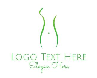 Massage - Woman Green Silhouette logo design