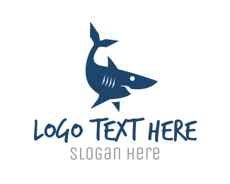 Swim - Blue Shark logo design
