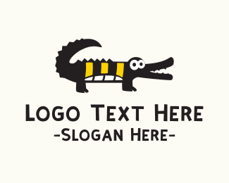 Wild - Cute Black Crocodile  logo design