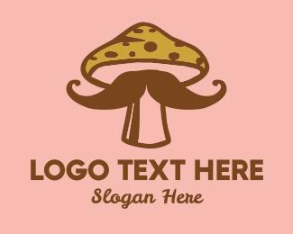 Drug - Mushroom Moustache logo design