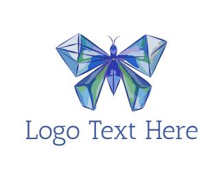 Gem - Diamond Butterfly logo design
