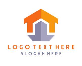 Orange And Gray - Shield House logo design