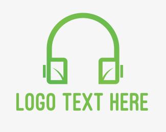 Headset - Eco Headphones logo design