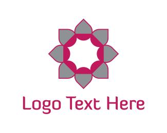 Bloom - Pink & Grey Flower logo design