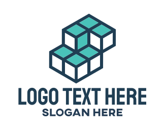 Blue And Green - Blue Cubes logo design