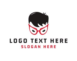 Head - Red Eyeglasses logo design