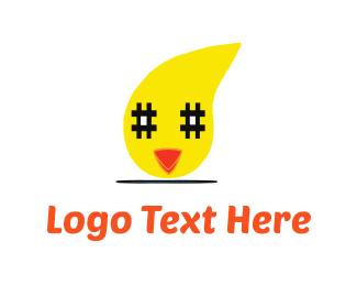 Chat - Chicken & Hashtag logo design