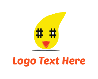 Chick - Chicken & Hashtag logo design