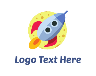 Takeoff - Rocket Cartoon logo design