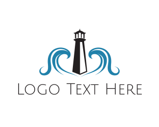 Lighthouse - Lighthouse & Waves logo design