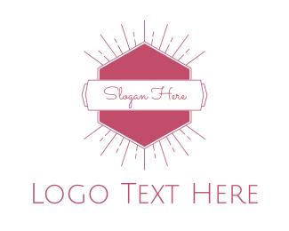 Beautiful - Pink Radiant Emblem logo design