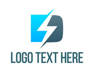 Zeus - Blue D Lightning Bolt logo design
