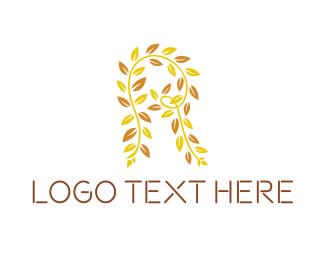 Spring - Leaf Letter R logo design