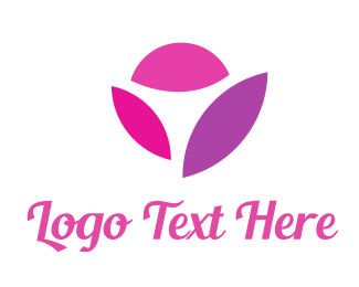 Purple And Pink - Pink Flower logo design