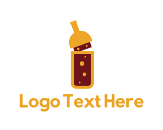 Red Wine - Yellow Bottle logo design
