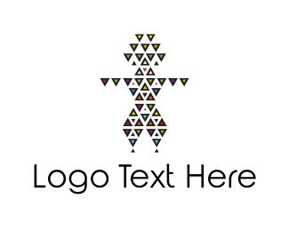 Tribal - Triangle Man logo design