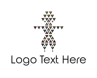 Tribal - Triangle Man logo design