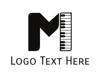 Key - Piano Letter M logo design