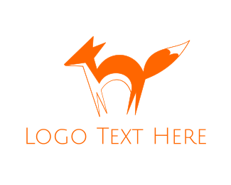 Orange Minimalist Fox Logo