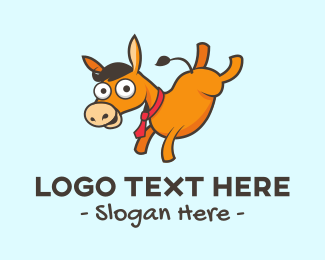 Horse - Donkey Cartoon logo design