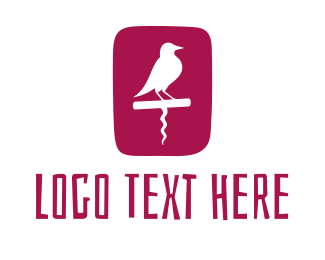 Corkscrew - Wine Bird logo design