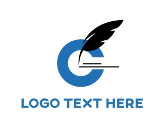 Writer - Black Feather logo design