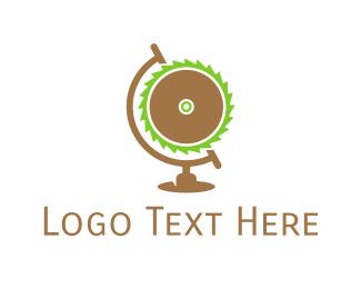Woodwork - Saw Globe logo design