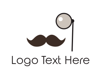 Gentleman - Monocle & Moustache logo design