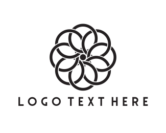 Black And White - Black Flower logo design