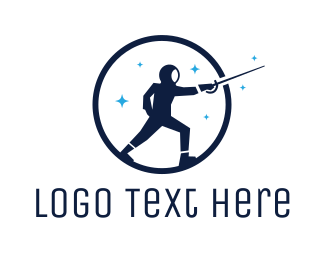 Fence - Round Blue Fencer logo design
