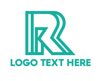 Teal - Abstract Outline R logo design