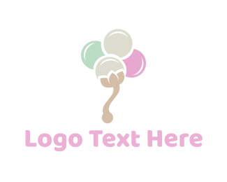 Ice Cream - Cotton Flower logo design