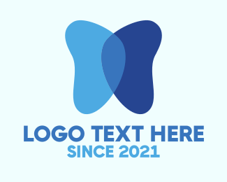 Dental - Blue Butterfly logo design