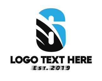 Number 6 - Black Blue Six logo design