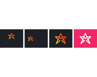 Hollywood - Pink & White Star logo design