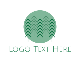 Pine Tree - Forest Circle logo design