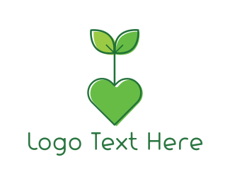 Stem - Heart Plant logo design