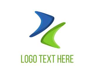 Water - Blue & Green Boomerang logo design