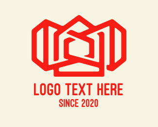 Land - Red Siren House Outline  logo design