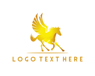Mythology - Golden Pegasus logo design