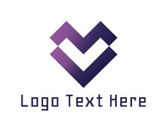 Valentine - Digital Heart logo design