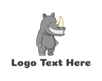 Gray - Happy Rhino logo design