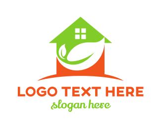 Home - Green Orange House Leaf logo design