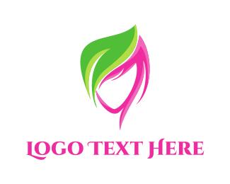Skin - Girl & Leaf logo design