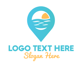 Positioning - Cyan Beach Pin logo design