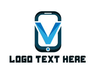 Phone Repair - Phone Letter V logo design