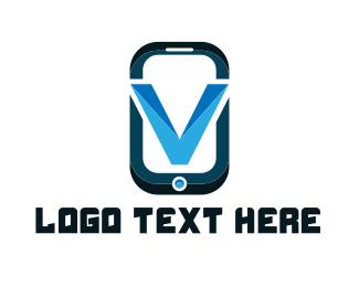 Smartphone - Phone Letter V logo design